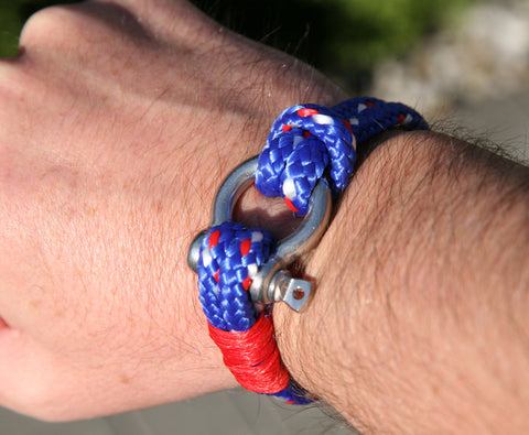Blue and Red Sailing Cord / Paracord Bracelet with a Nautical Shackle Clasp