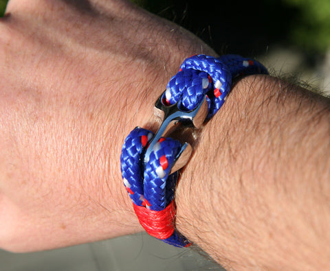 Blue and Red Sailing Cord / Paracord Bracelet with a Chrome Anchor Clasp