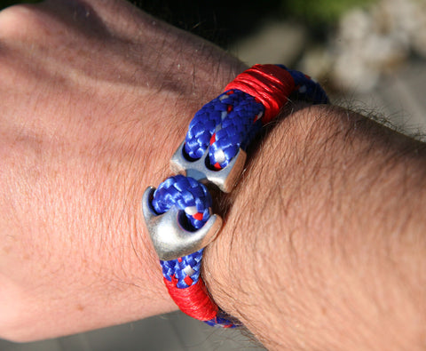 Blue and Red Sailing Cord Bracelet with Anchor Clasp 4