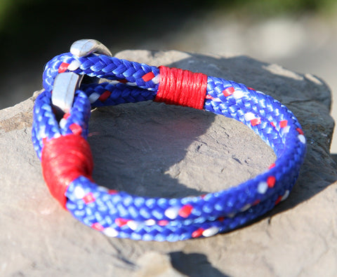 Blue and Red Sailing Cord Bracelet with Anchor Clasp 2