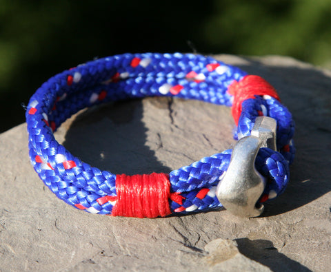 Blue and Red Sailing Cord Bracelet with Anchor Clasp 3