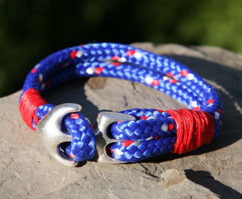 Blue and Red Sailing Cord / Paracord Bracelet with Anchor Clasp