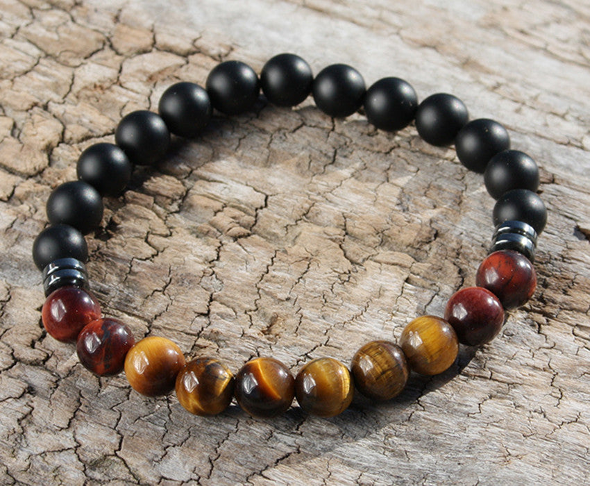 Onyx and Tiger Eye Natural Stone Bracelet