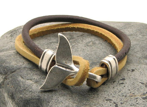 Brown Two Tone Leather Bracelet with Dolphin Tail Clasp 1