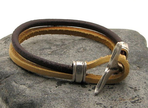 Brown Two Tone Leather Bracelet with Dolphin Tail Clasp 2