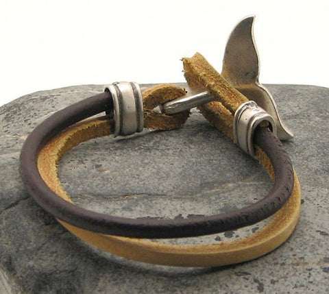 Brown Two Tone Leather Bracelet with Dolphin Tail Clasp 3