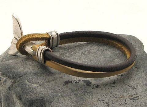 Brown Two Tone Leather Bracelet with Dolphin Tail Clasp 4