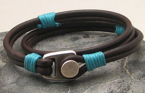 Brown Leather Wrap Bracelet with Button Clasp 1