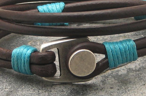 Brown Leather Wrap Bracelet with Button Clasp 2
