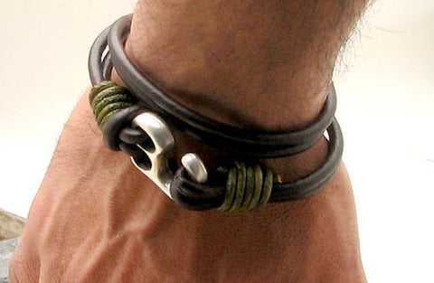 Mens Brown Leather Multi Strand Bracelet with Hook Clasp 4
