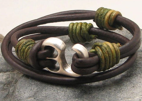 Mens Brown Leather Multi Strand Bracelet with Hook Clasp 1