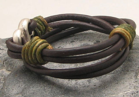 Mens Brown Leather Multi Strand Bracelet with Hook Clasp 2