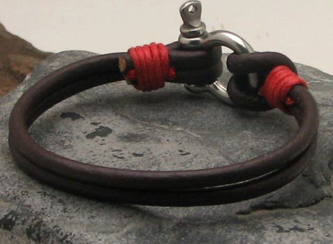 Brown Leather Bracelet with Omega Nautical Shackle Clasp and Red Thread Accents 2
