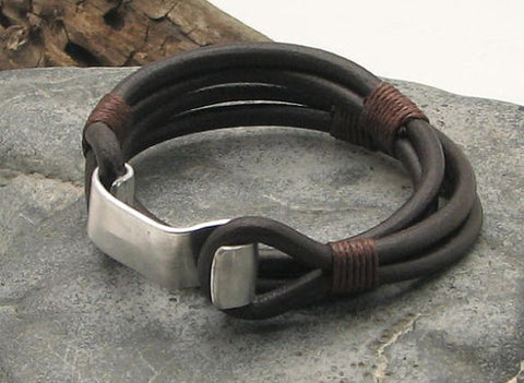 Brown Leather Wrap Bracelet with Hand Hammered Metal Hook Clasp 1