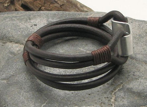 Brown Leather Wrap Bracelet with Hand Hammered Metal Hook Clasp 3