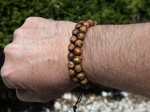 Brown Matte Agate Natural Stone Dual Layer Bracelet