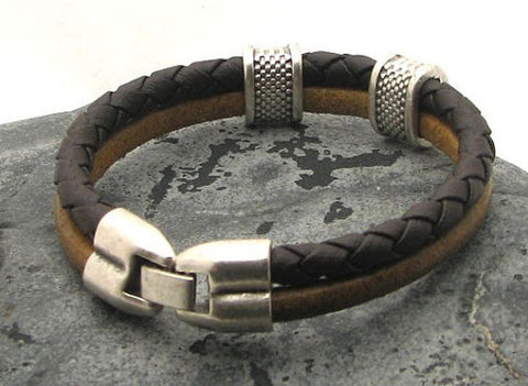 Dual Tone Brown Braided Leather Bracelet with Silver Accents