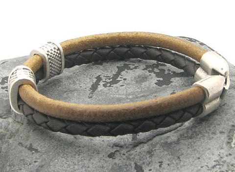 Dual Tone Brown Braided Leather Bracelet with Silver Accents 2