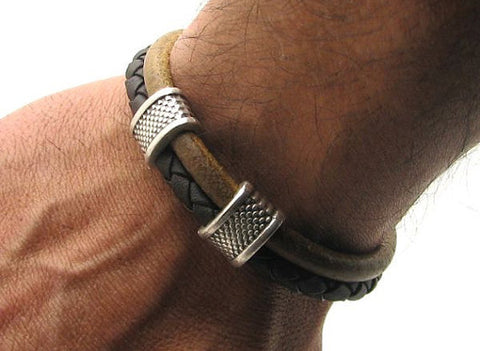 Dual Tone Brown Braided Leather Bracelet with Silver Accents 3