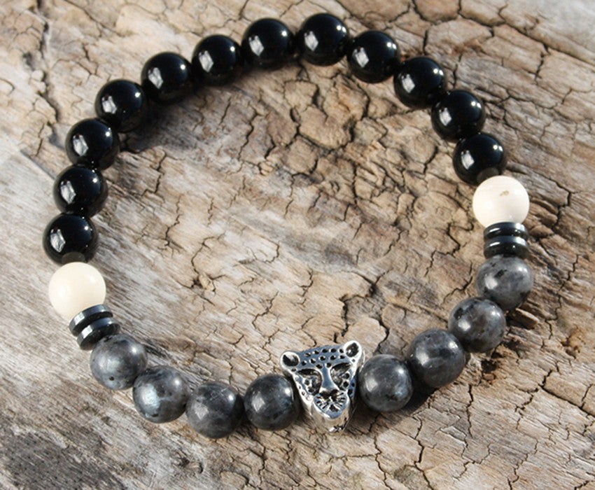 Onyx and Mother of Pearl Natural Stone Bracelet