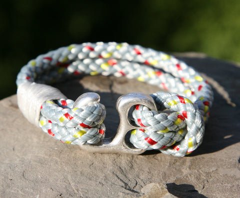 Grey Sailing Cord / Paracord Bracelet with a Hook Clasp