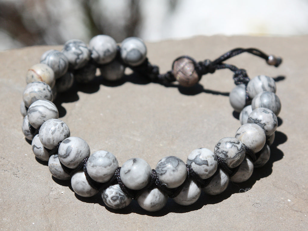 Light Grey Jasper Natural Stone Dual Layer Bracelet