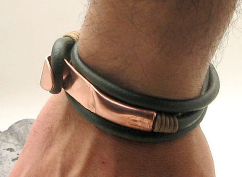 Dark Green Leather Wrap Bracelet with Hand Hammered Copper Clasp 4