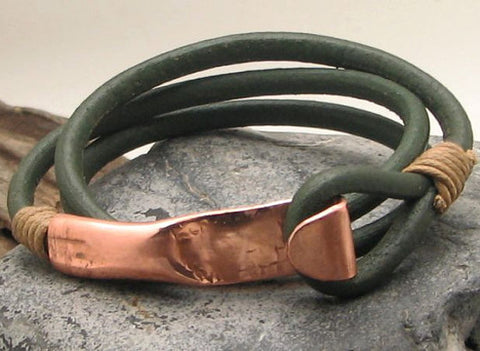 Dark Green Leather Wrap Bracelet with Hand Hammered Copper Clasp 1