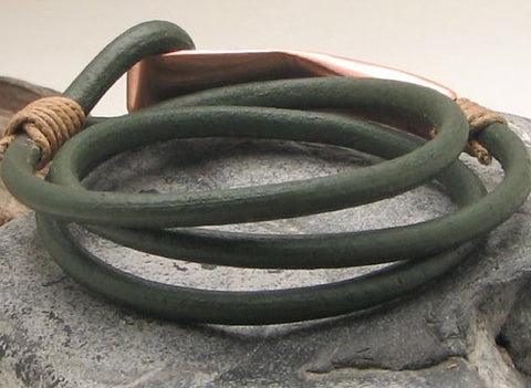 Dark Green Leather Wrap Bracelet with Hand Hammered Copper Clasp 3