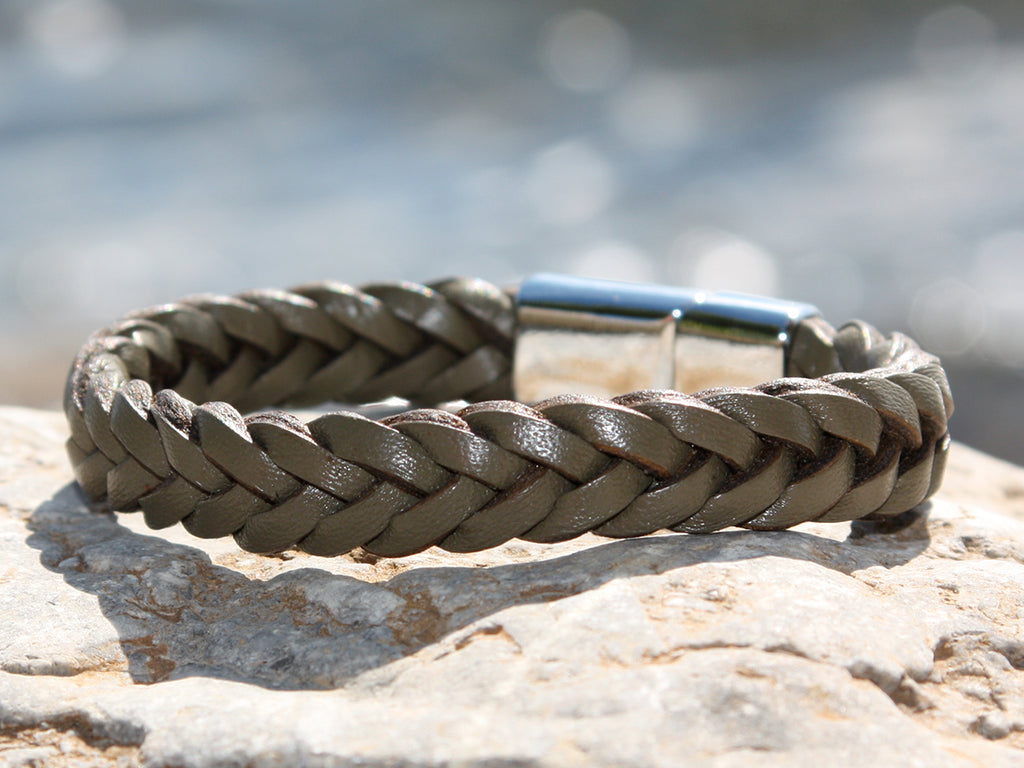 Olive Green Braided Leather Bracelet with a Sliding Magnetic Clasp