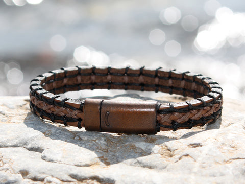 Brown and Tan Leather Bracelet with a Copper Magnetic Clasp