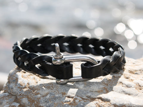 Black Thick Braided Leather Bracelet with a Nautical Shackle
