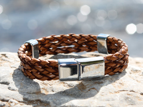 Brown Triple Braided Leather Bracelet with a Sliding Magnetic Clasp