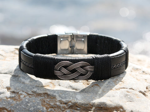 Black Leather and Braided Silver Knot Bracelet