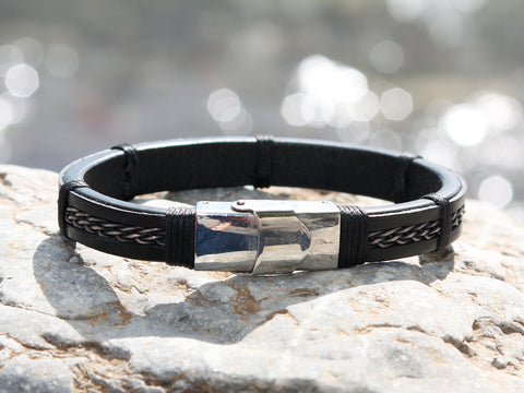 Black Leather and Braided Silver Bracelet IIII
