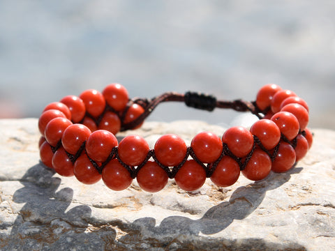 Red Coral Natural Stone Dual Layer Bracelet
