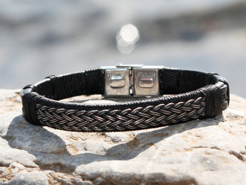 Black Leather and Braided Silver Bracelet II