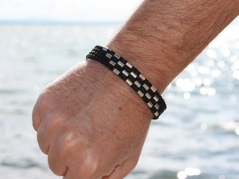 Black Braided Leather and Silver Bracelet