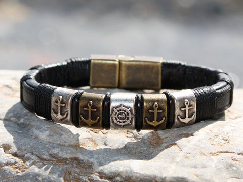 Black Leather and Brass Anchor Bracelet
