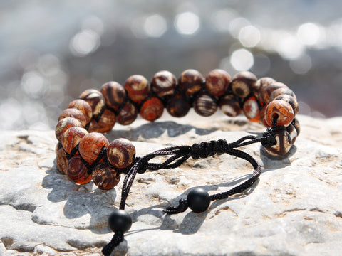 Brown Matte Agate Natural Stone Dual Layer Bracelet II