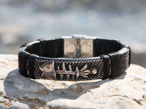 Black Leather and Silver Fish Bracelet