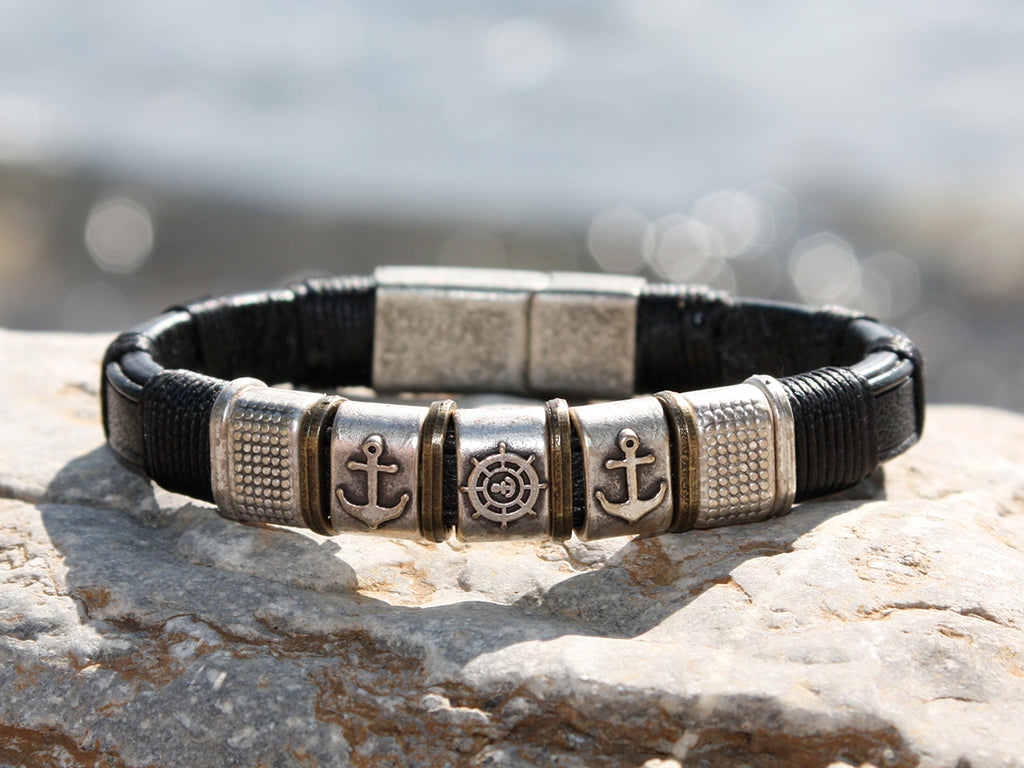 Black Leather and Stainless Steel Anchor Bracelet