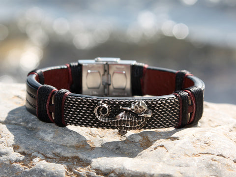 Black Leather and Silver Seahorse Bracelet