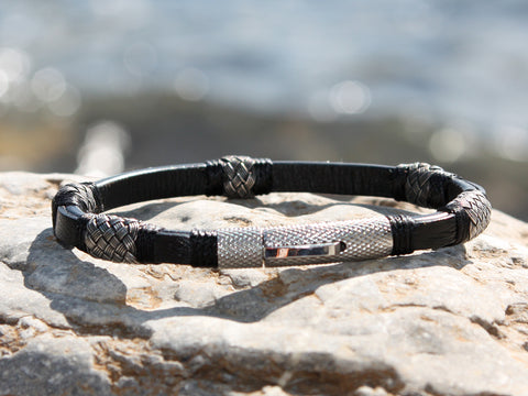 Black Leather and Braided Silver Bracelet