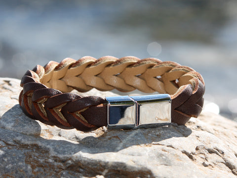 Brown and Tan Thick Braided Leather Bracelet with a Sliding Magnetic Clasp