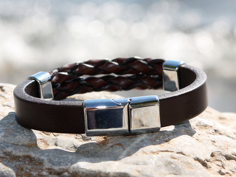 Brown Dual Braided and Solid Leather Bracelet with a Sliding Magnetic Clasp