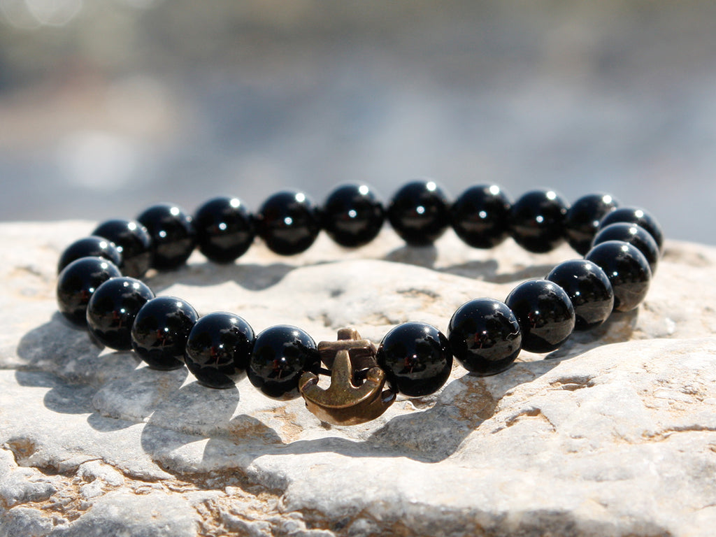 Black Glossy Onyx Natural Stone Anchor Bracelet