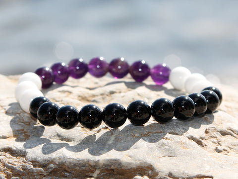 Onyx and Coral Natural Stone Bracelet
