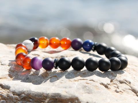 Onyx and Purple Agate Natural Stone Bracelet