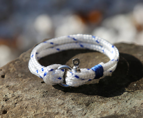 Ladies Blue and White Rope Shackle Bracelet